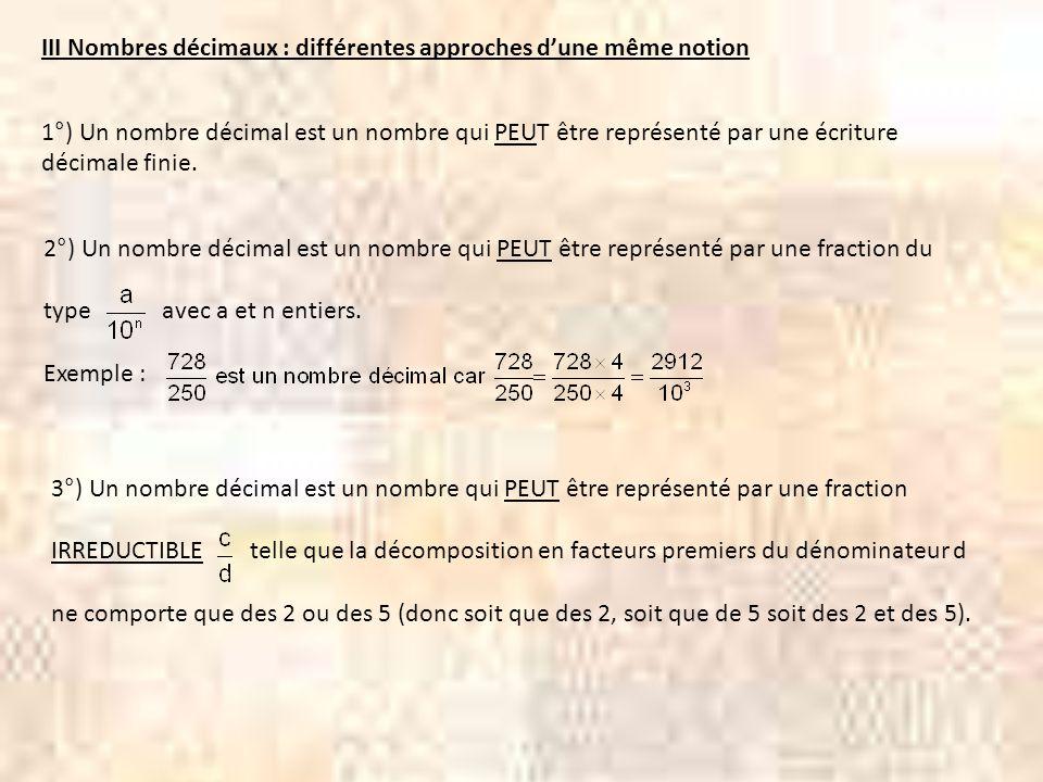 III Nombres décimaux : différentes approches d'une même notion