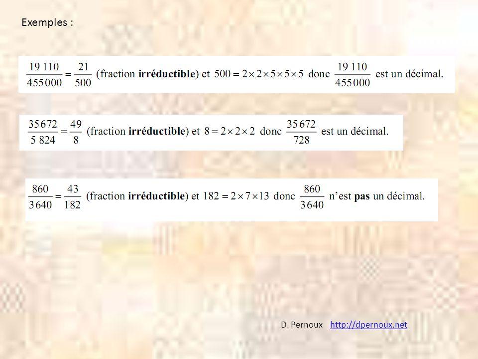 Exemples : D. Pernoux http://dpernoux.net