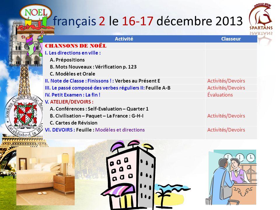 français 2 le 16-17 décembre 2013 Activité Classeur CHANSONS DE NOËL