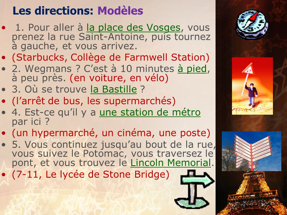 Les directions: Modèles