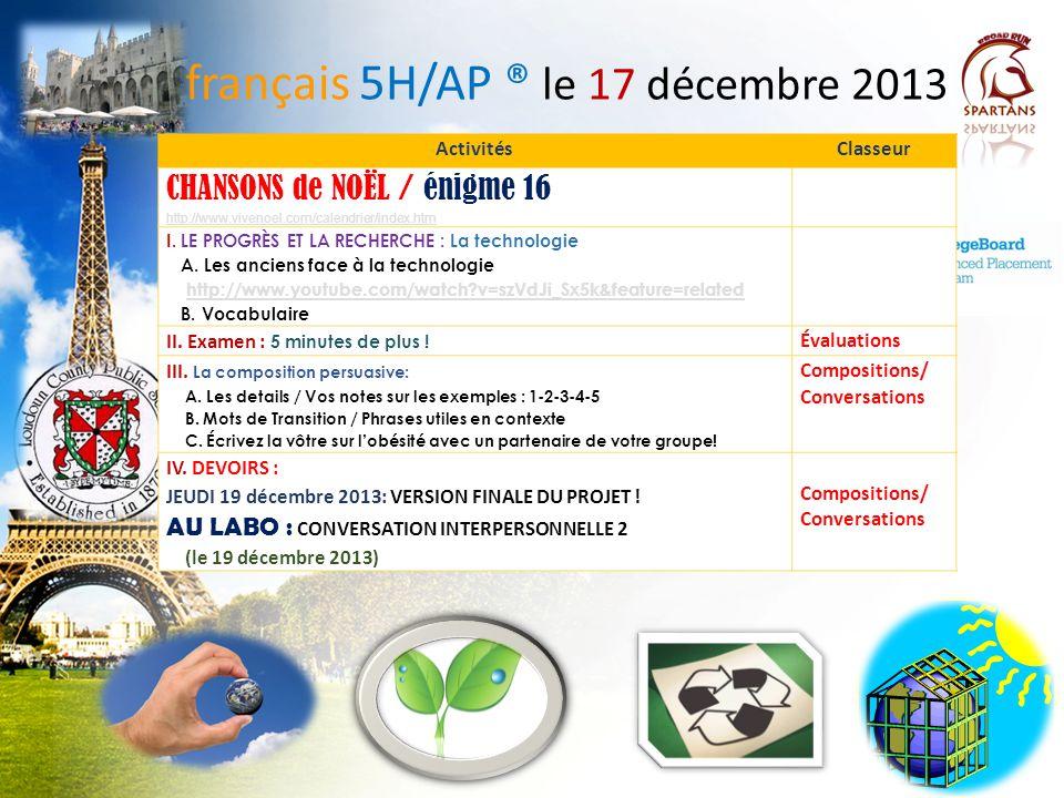 français 5H/AP ® le 17 décembre 2013
