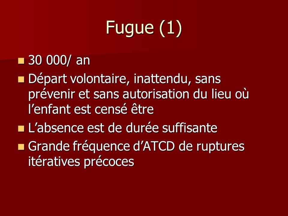 Fugue (1) 30 000/ an. Départ volontaire, inattendu, sans prévenir et sans autorisation du lieu où l'enfant est censé être.