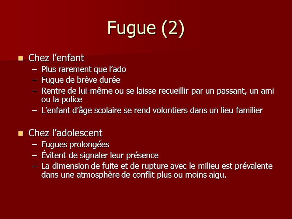 Fugue (2) Chez l'enfant Chez l'adolescent Plus rarement que l'ado