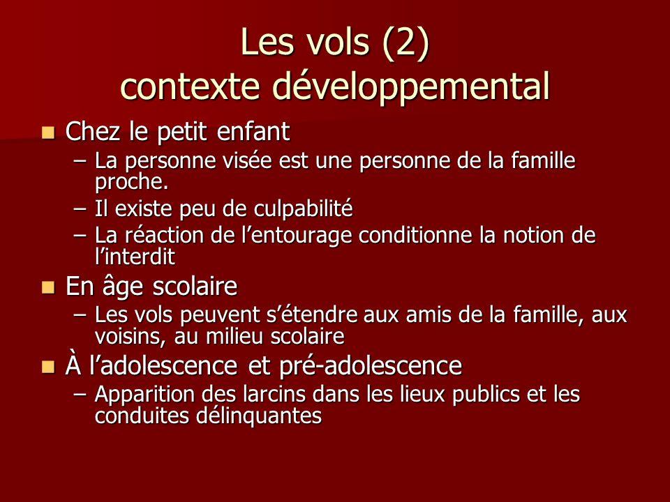 Les vols (2) contexte développemental