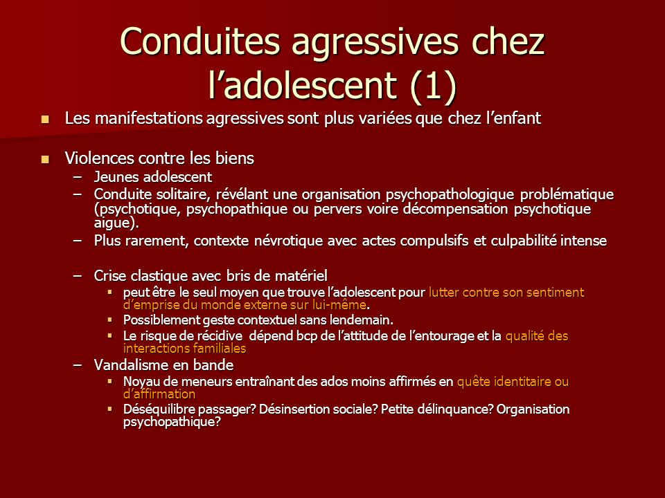Conduites agressives chez l'adolescent (1)
