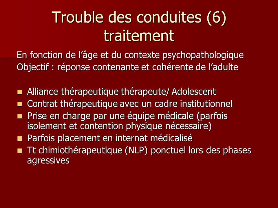 Trouble des conduites (6) traitement