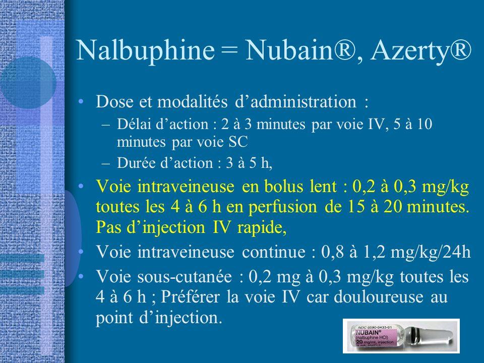 Nalbuphine = Nubain®, Azerty®