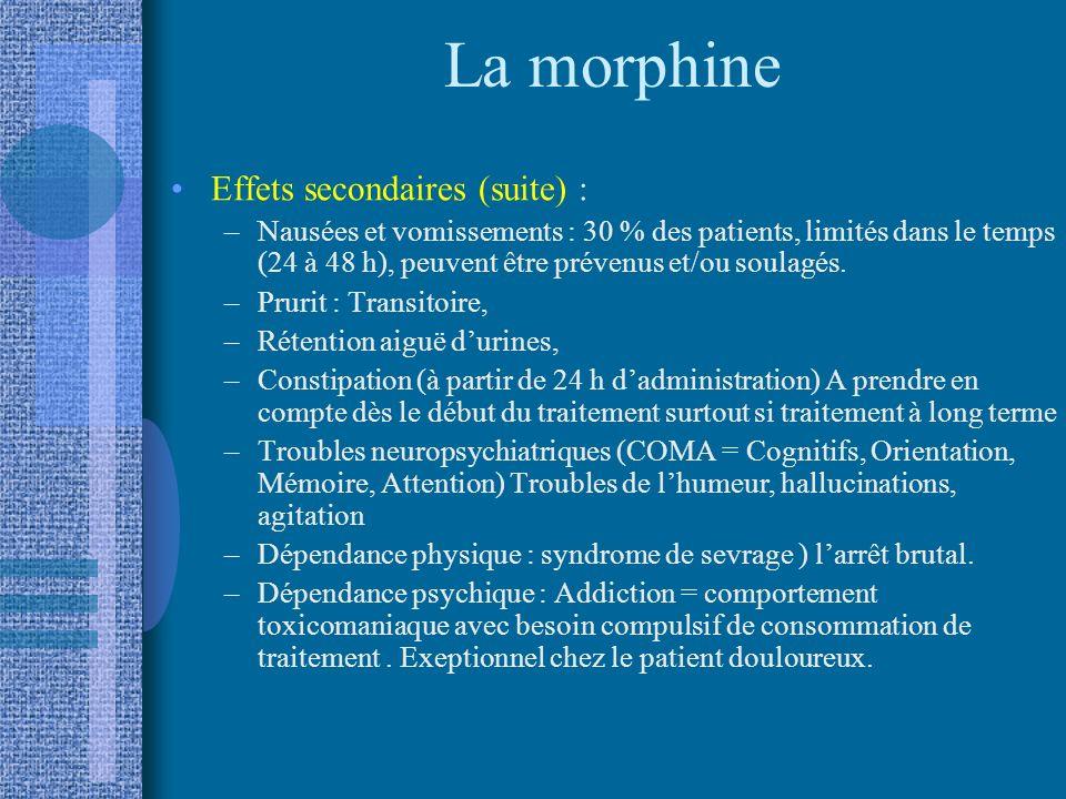 La morphine Effets secondaires (suite) :