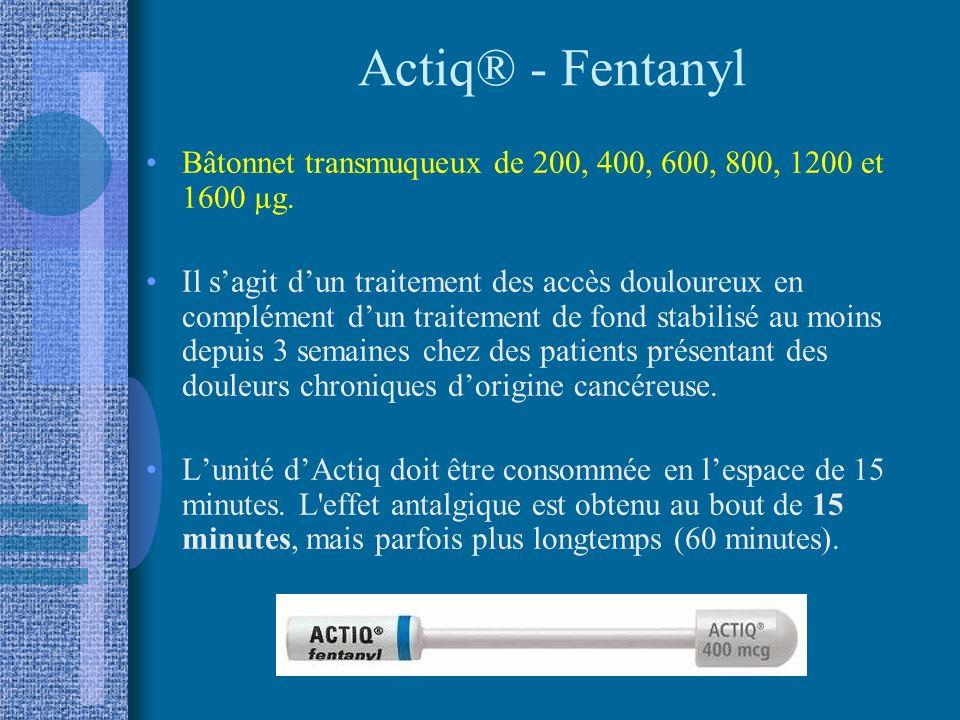 Actiq® - Fentanyl Bâtonnet transmuqueux de 200, 400, 600, 800, 1200 et 1600 µg.