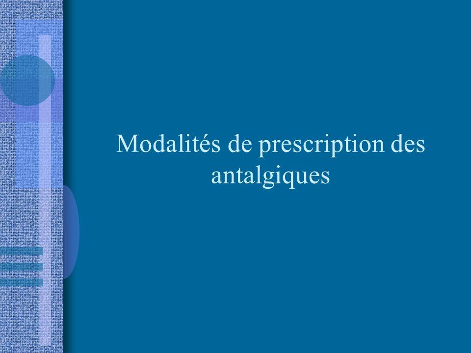Modalités de prescription des antalgiques