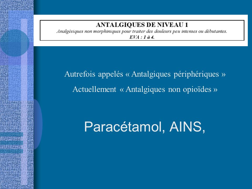 Paracétamol, AINS, Autrefois appelés « Antalgiques périphériques »