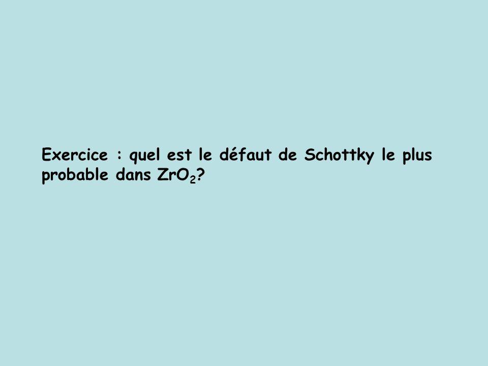 Exercice : quel est le défaut de Schottky le plus probable dans ZrO2