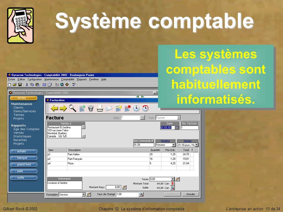 Les systèmes comptables sont habituellement informatisés.