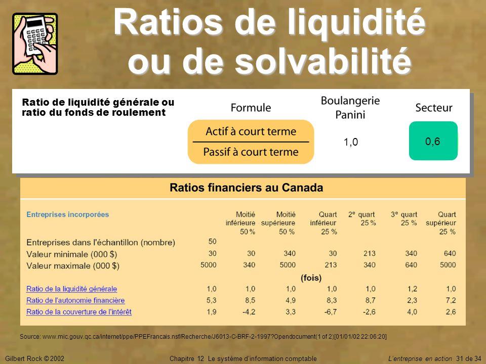 Ratios de liquidité ou de solvabilité