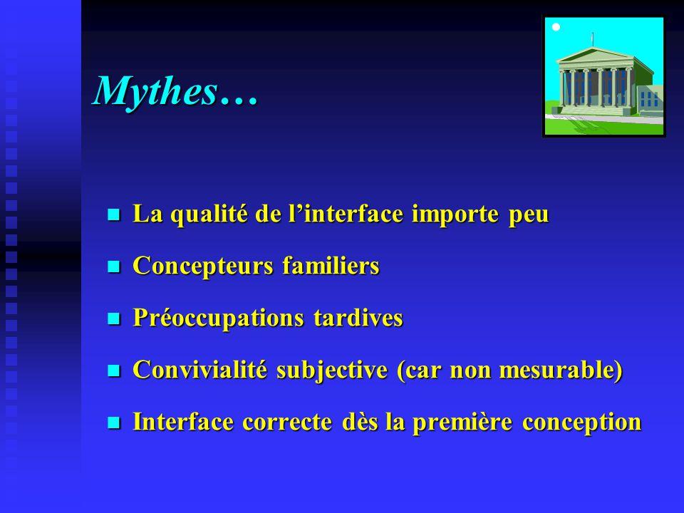 Mythes… La qualité de l'interface importe peu Concepteurs familiers