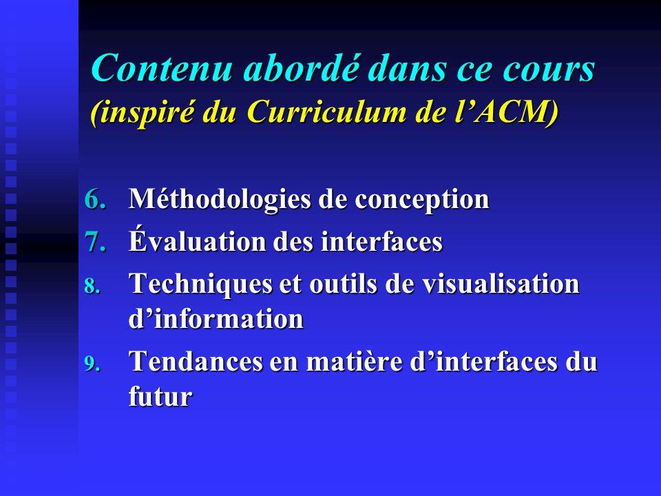 Contenu abordé dans ce cours (inspiré du Curriculum de l'ACM)