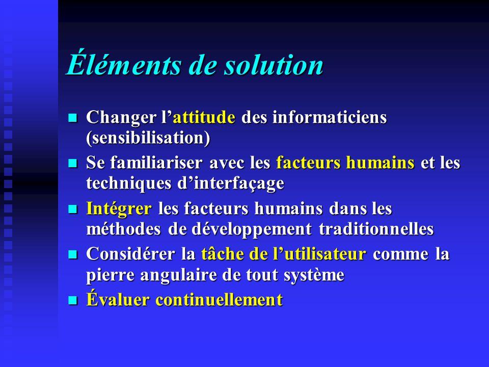 Éléments de solution Changer l'attitude des informaticiens (sensibilisation)