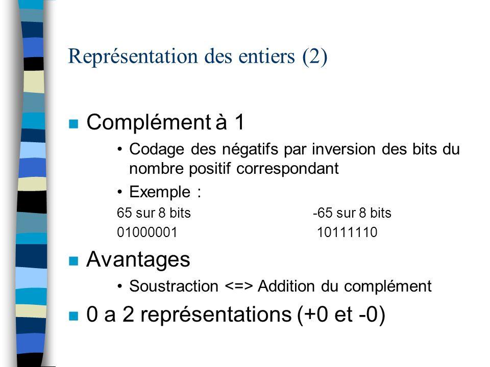 Représentation des entiers (2)