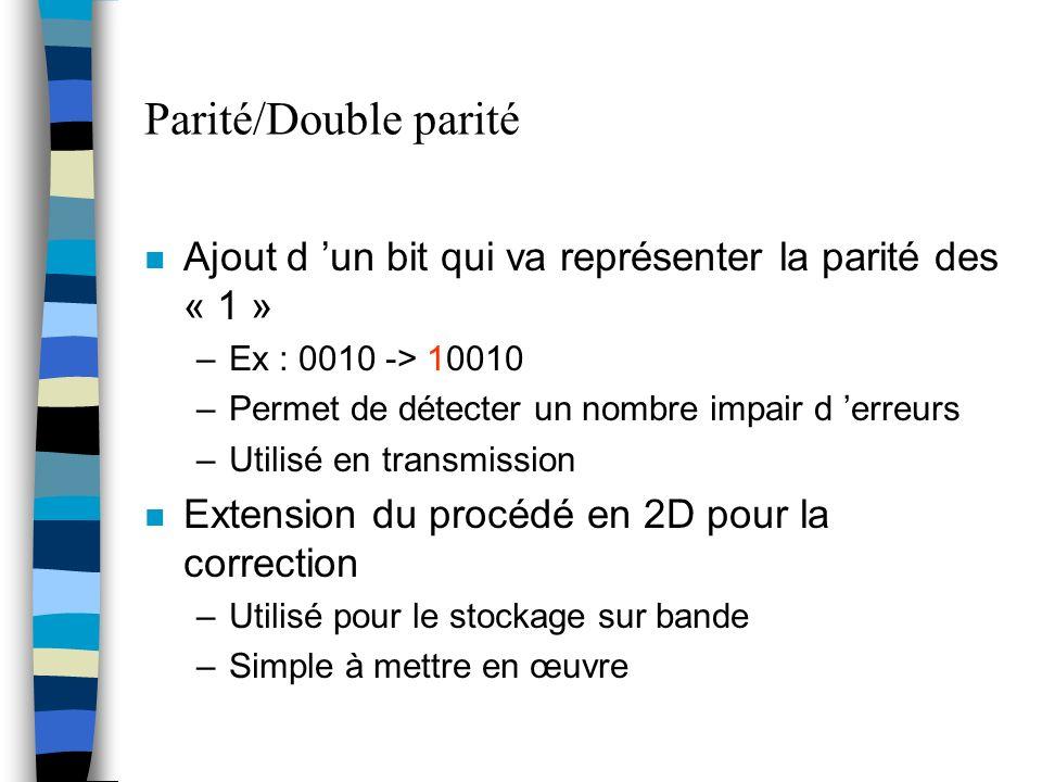 Parité/Double parité Ajout d 'un bit qui va représenter la parité des « 1 » Ex : 0010 -> 10010. Permet de détecter un nombre impair d 'erreurs.