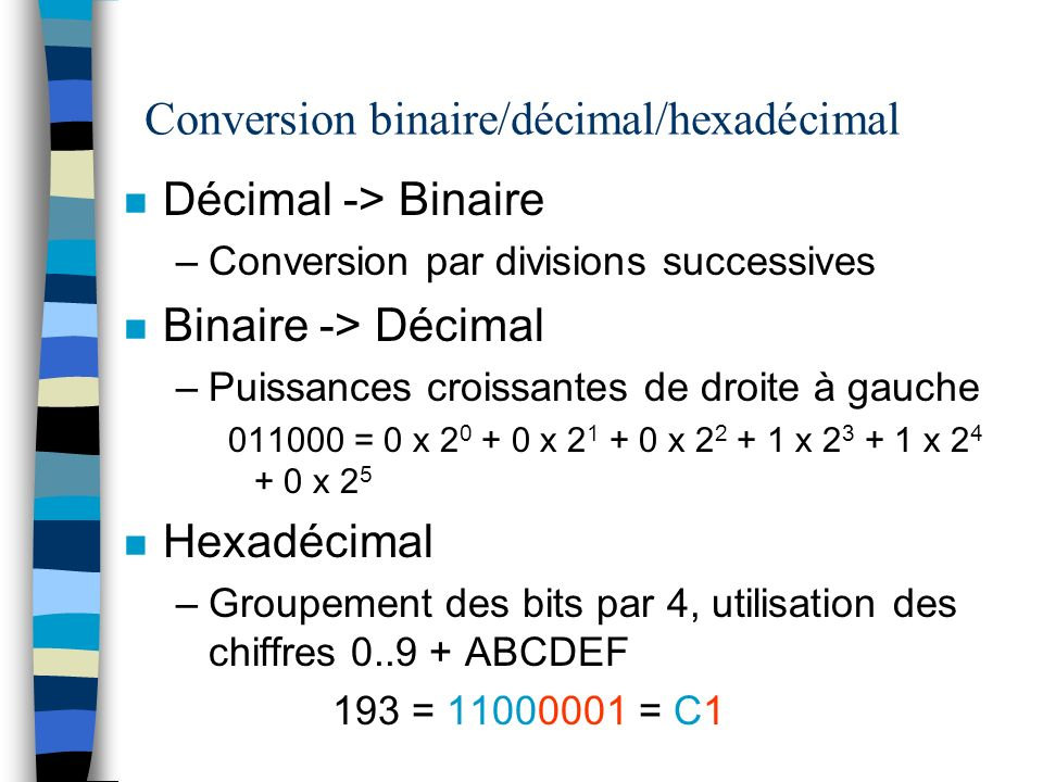 Conversion binaire/décimal/hexadécimal