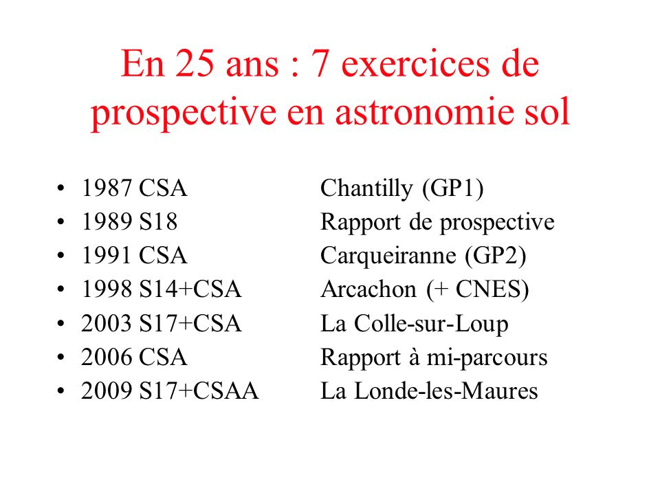 En 25 ans : 7 exercices de prospective en astronomie sol
