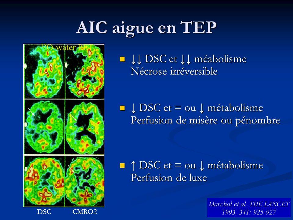 AIC aigue en TEP ↓↓ DSC et ↓↓ méabolisme Nécrose irréversible