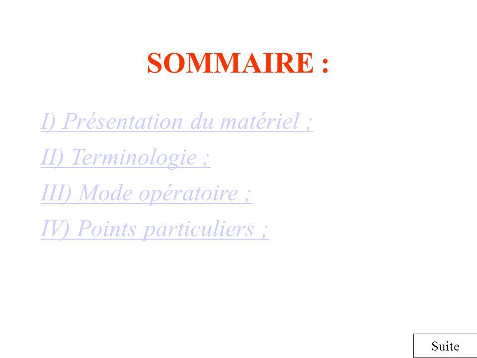 SOMMAIRE : I) Présentation du matériel ; II) Terminologie ;
