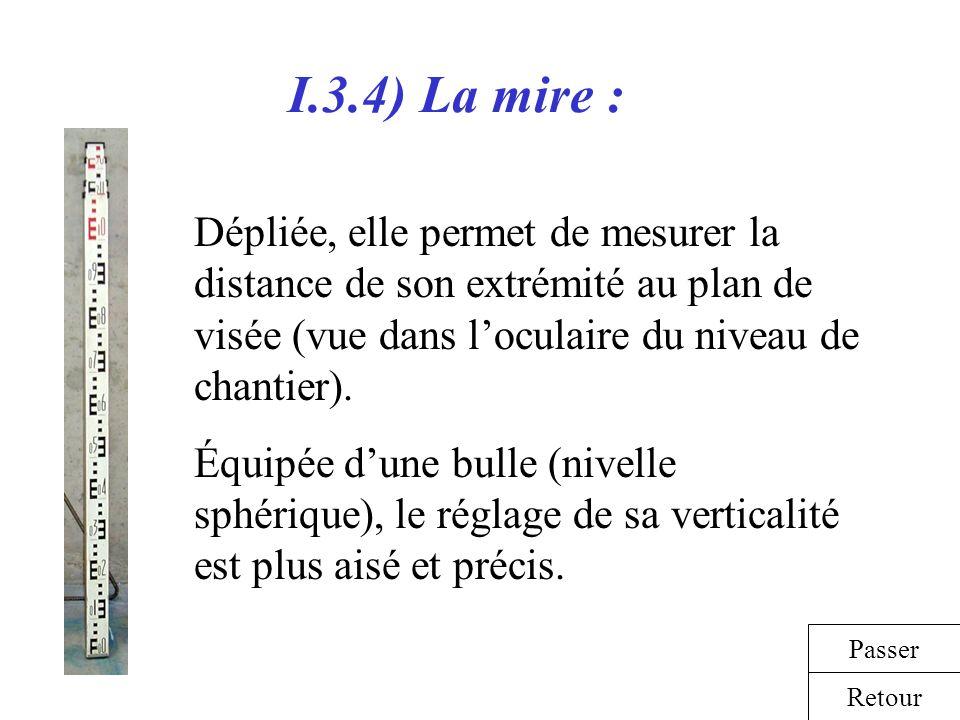 I.3.4) La mire : Dépliée, elle permet de mesurer la distance de son extrémité au plan de visée (vue dans l'oculaire du niveau de chantier).