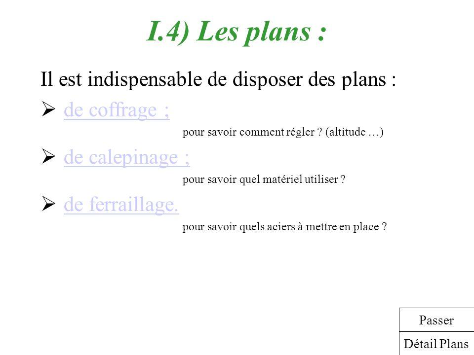 I.4) Les plans : Il est indispensable de disposer des plans :