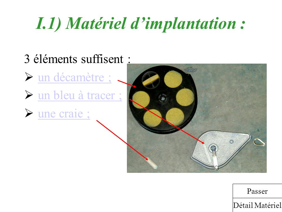 I.1) Matériel d'implantation :
