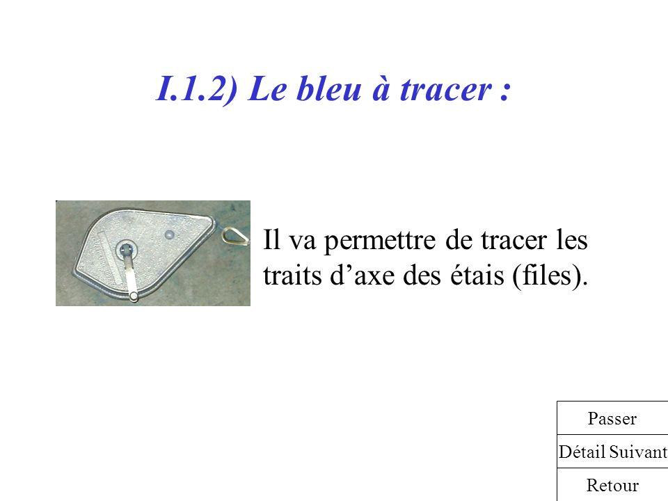 I.1.2) Le bleu à tracer : Il va permettre de tracer les traits d'axe des étais (files). Passer. Détail Suivant.