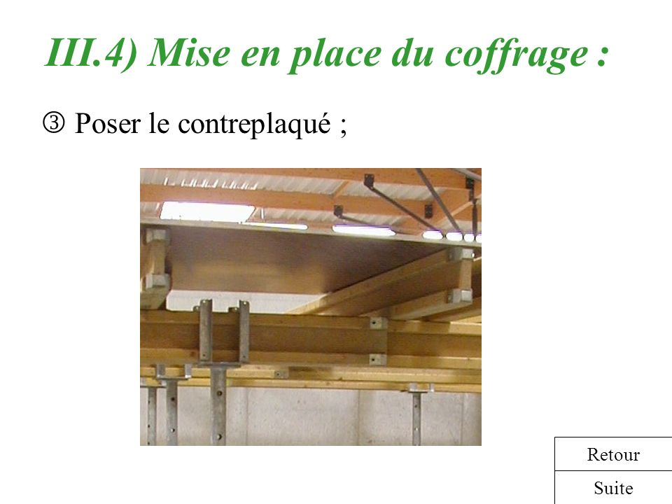 III.4) Mise en place du coffrage :
