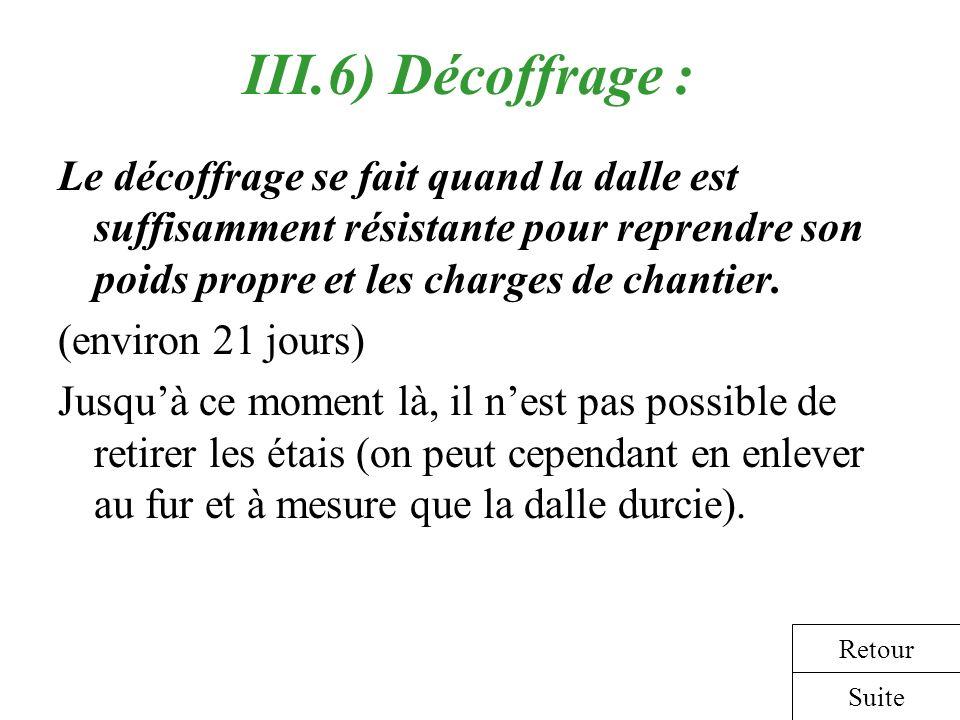 III.6) Décoffrage : Le décoffrage se fait quand la dalle est suffisamment résistante pour reprendre son poids propre et les charges de chantier.