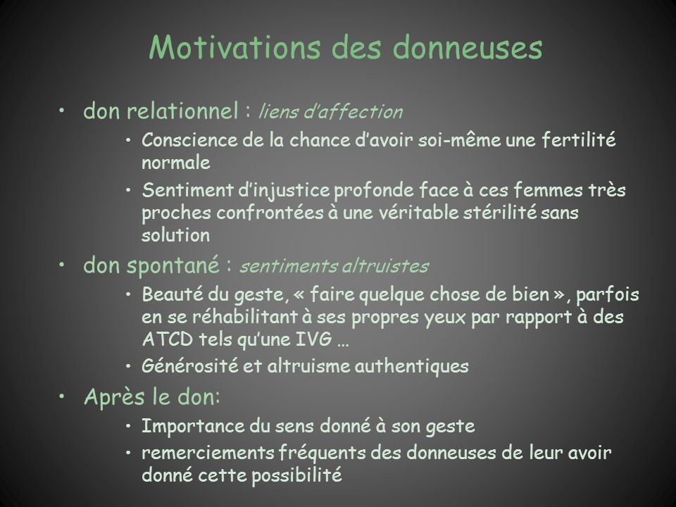 Motivations des donneuses