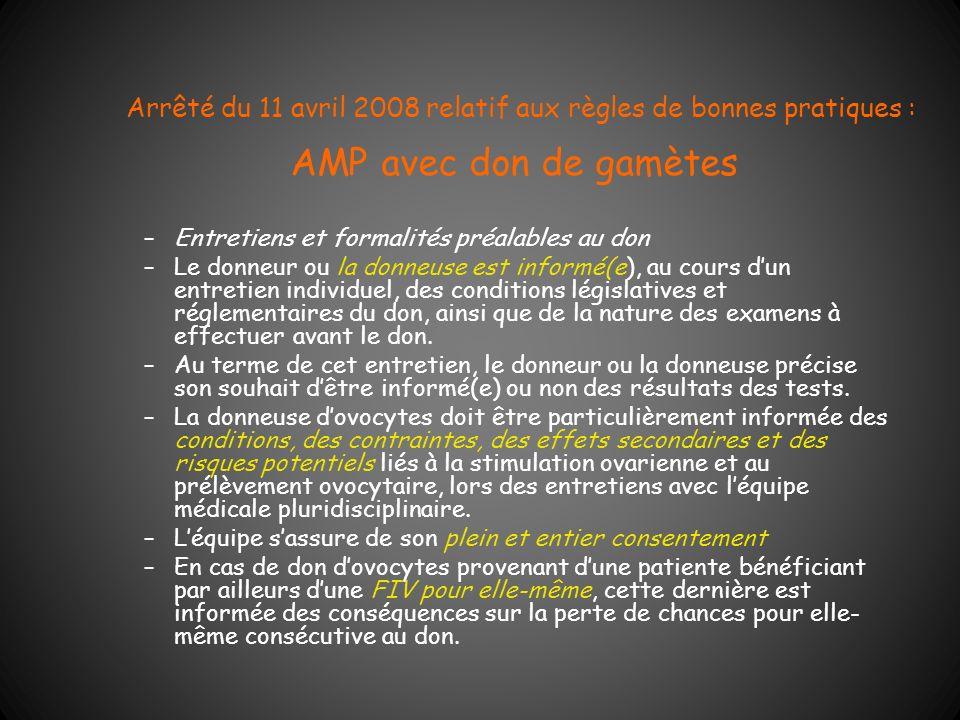 Arrêté du 11 avril 2008 relatif aux règles de bonnes pratiques : AMP avec don de gamètes