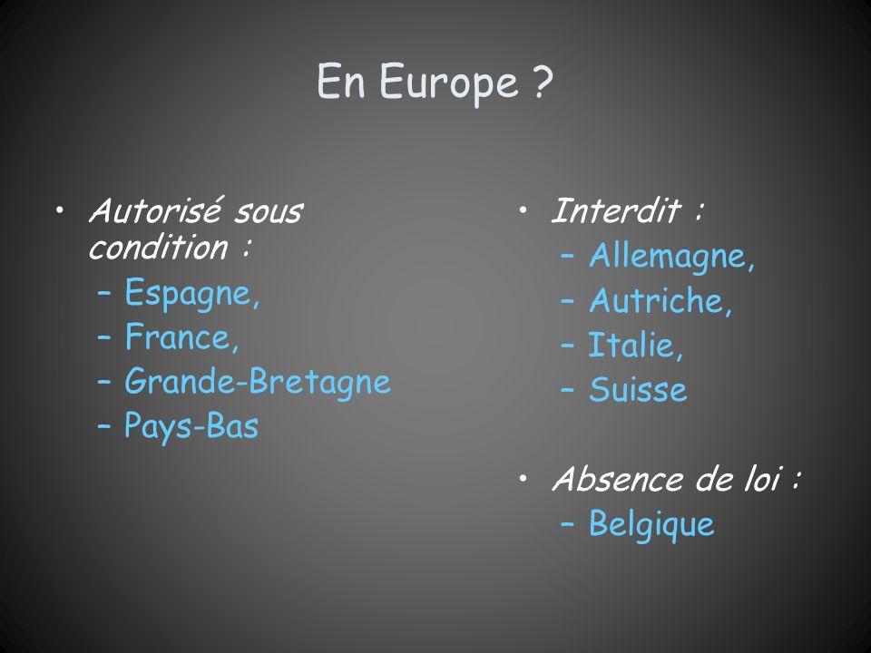 En Europe Autorisé sous condition : Espagne, France, Grande-Bretagne