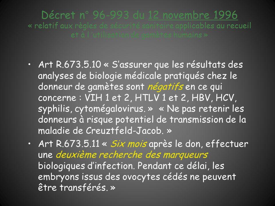 Décret n° 96-993 du 12 novembre 1996 « relatif aux règles de sécurité sanitaire applicables au recueil et à l 'utilisation de gamètes humains »