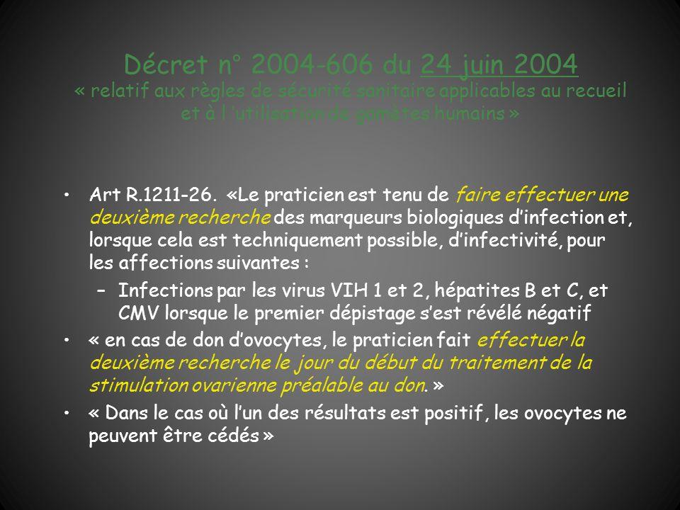Décret n° 2004-606 du 24 juin 2004 « relatif aux règles de sécurité sanitaire applicables au recueil et à l 'utilisation de gamètes humains »