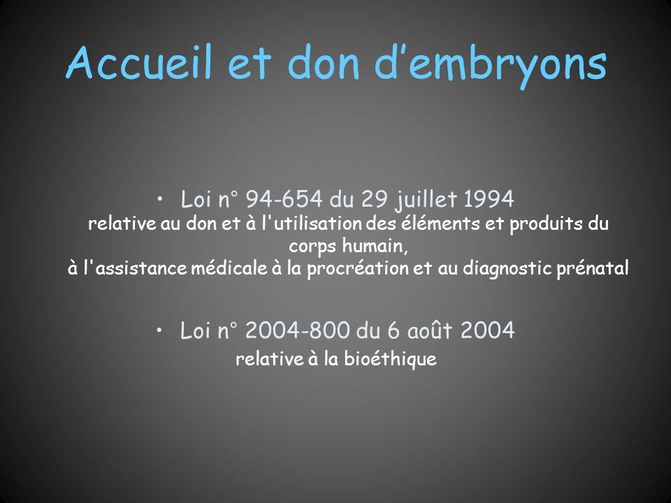 Accueil et don d'embryons