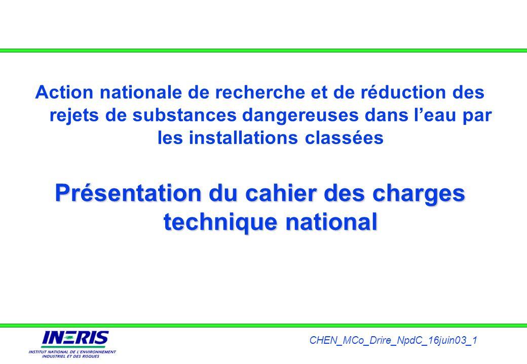 Présentation du cahier des charges technique national