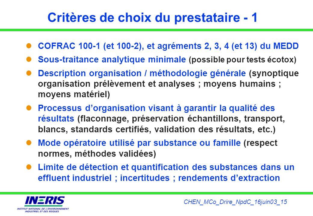Critères de choix du prestataire - 1