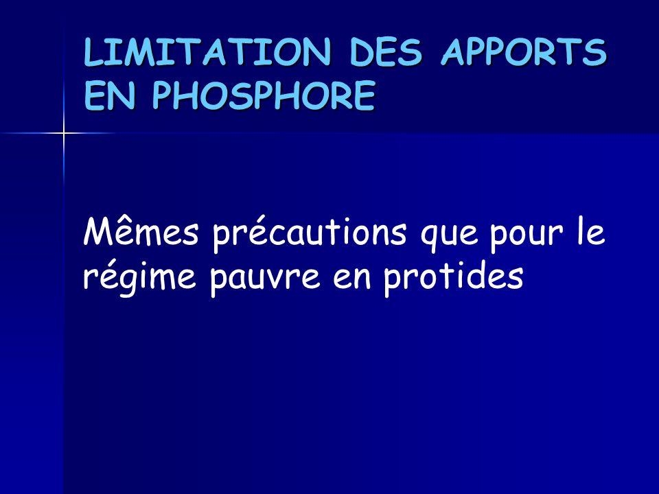 LIMITATION DES APPORTS EN PHOSPHORE
