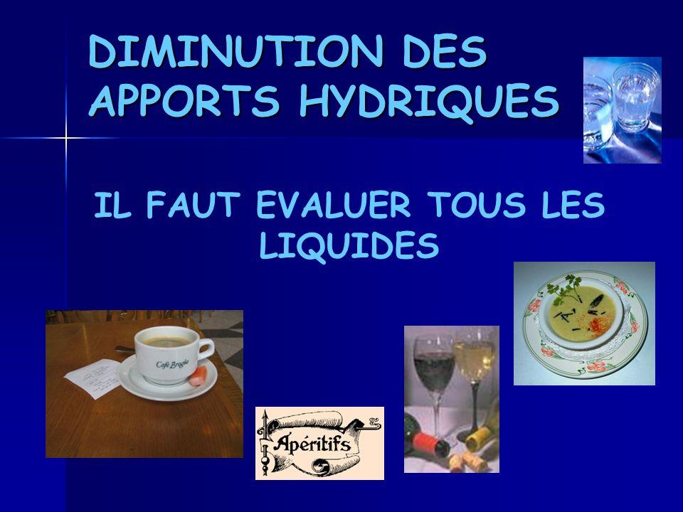 DIMINUTION DES APPORTS HYDRIQUES