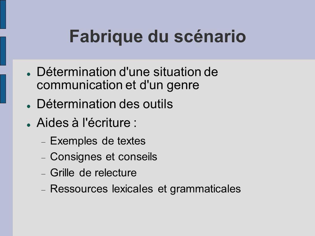 Fabrique du scénarioDétermination d une situation de communication et d un genre. Détermination des outils.