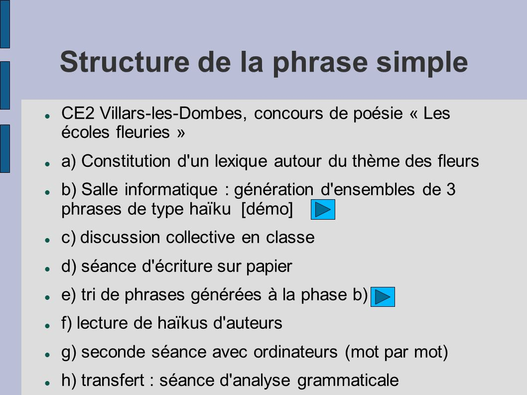 Structure de la phrase simple