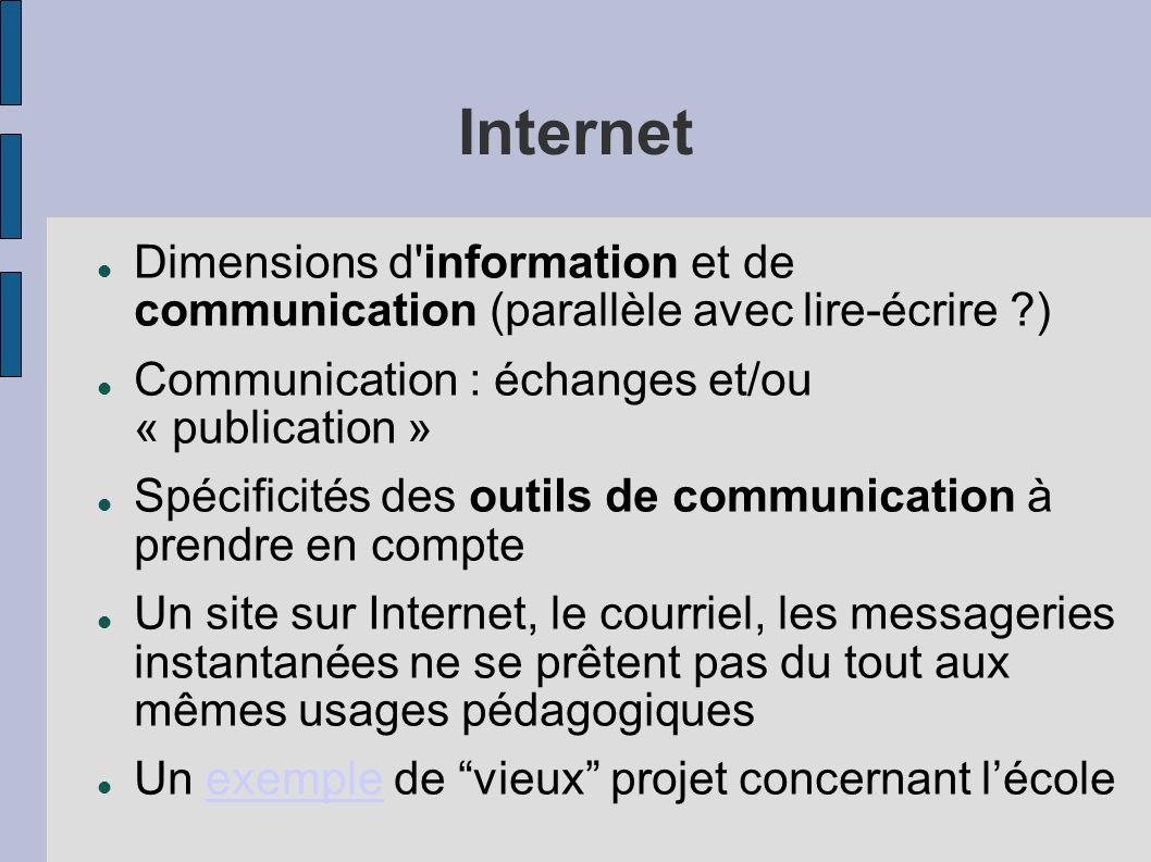 Internet Dimensions d information et de communication (parallèle avec lire-écrire ) Communication : échanges et/ou « publication »