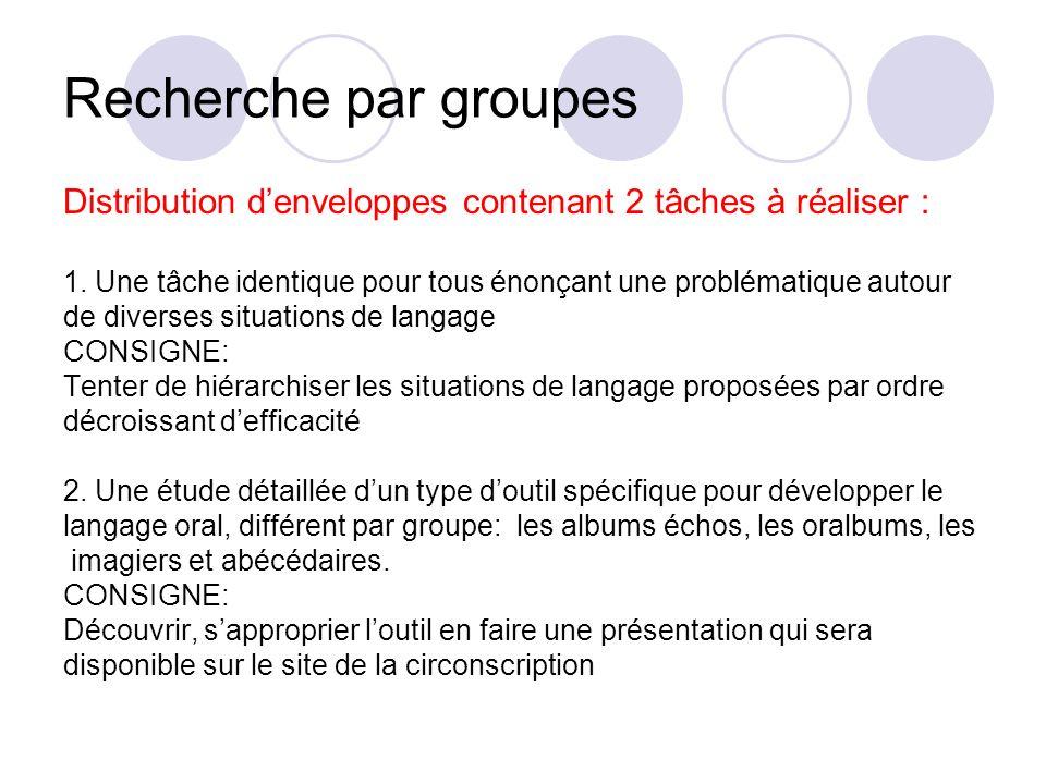Recherche par groupesDistribution d'enveloppes contenant 2 tâches à réaliser : 1. Une tâche identique pour tous énonçant une problématique autour.