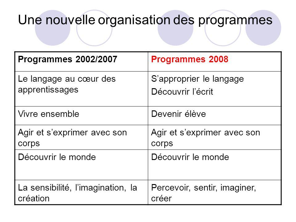 Une nouvelle organisation des programmes
