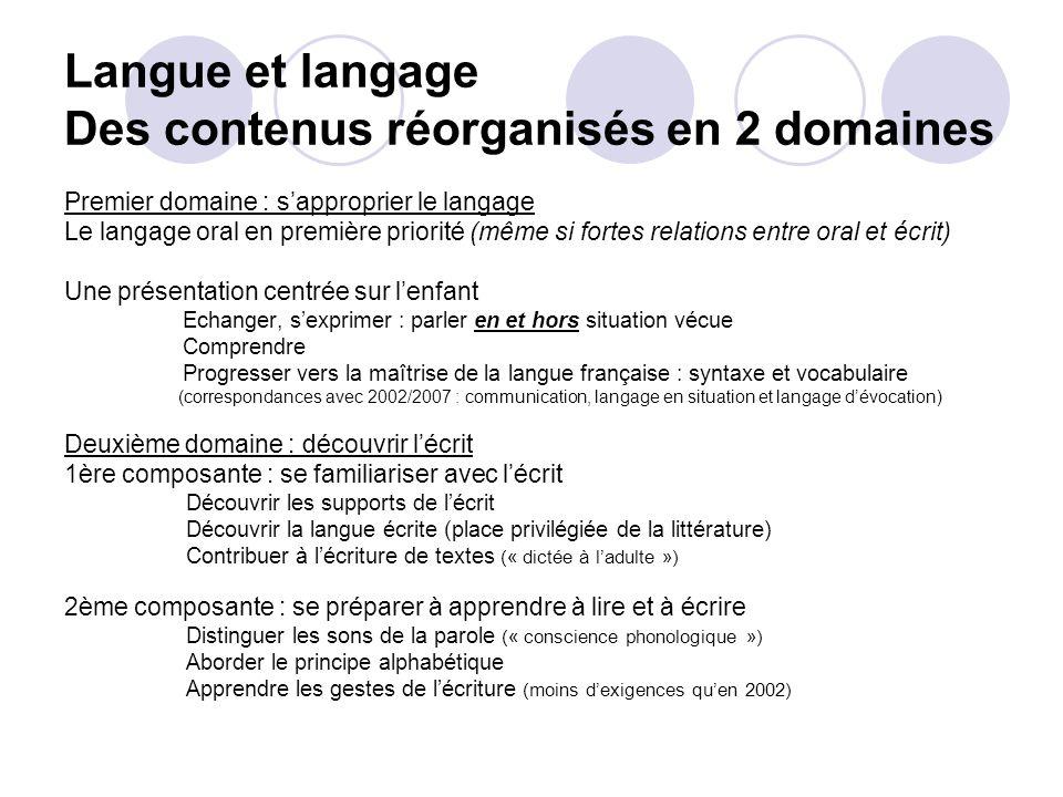 Langue et langage Des contenus réorganisés en 2 domaines