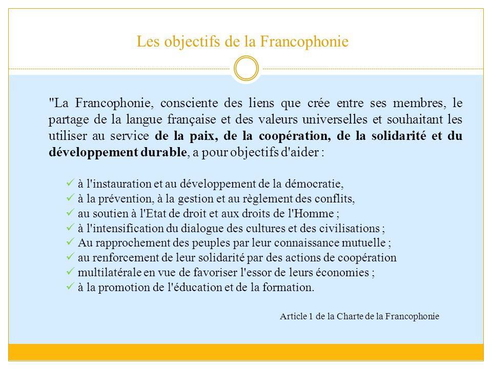 Les objectifs de la Francophonie